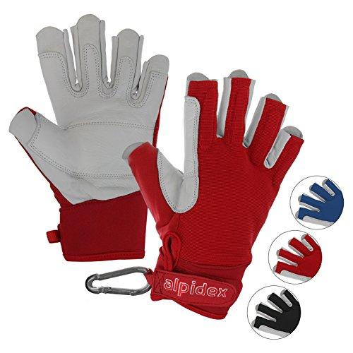 ALPIDEX Klettersteighandschuhe Unisex Echtleder Lederhandschuhe Kletterhandschuhe Half Finger Gloves Via Ferrata, Größe:L, Farbe:Wild Red