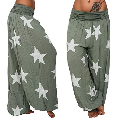 NOBRAND 2020 Cómodo Tallas Grandes 5XL Pantalones Largos con Estampado de Estrellas Pantalones Harem de Mujer Pantalones Holgados de Cintura elástica Alta Pantalones de Estilo Boho
