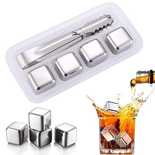 nuluxi Wiederverwendbare Eiswürfel Edelstahl Silber Whisky Steine Edelstahl Kühlsteine Geschenkset mit Eissteinklammern Bar Accessoires mit Hoher Kühlleistung für Whiskey Bier Wodka Gin Wein und Mehr