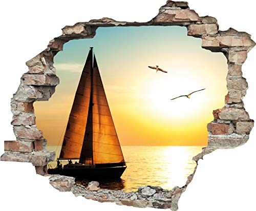 Queence | 3D-Effekt Wandtattoo | Aufkleber | Fenster | Durchbruch | selbstklebendes Wandbild | Wandsticker | Wanddurchbruch | Wandaufkleber | Tattoo, Größe:60x50 cm, Farbe:Segelboot