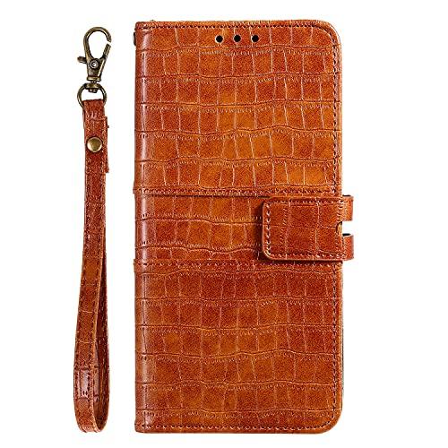 JZ Crocodile Pattern Design Funda For para Xiaomi Redmi Note 8 Pro Pure Color Flip Cover - Brown