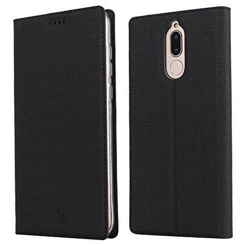 Feitenn Huawei Mate 10 lite Hülle, dünne Premium PU Leder Flip Handy Schutzhülle | TPU-Stoßstange, Kartenschlitz, Kameraschutz- & Standfunktion Brieftasche Etui (Schwarz)