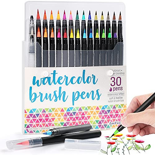 LotFancy Watercolor Brush Pens, Set of 28 Colors Watercolor Markers and 2 Refillable Water Pens, Flexible Real Brush Tips, Paint Pens for Coloring, Calligraphy, Doodling, Drawing