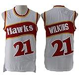 TGSCX Camiseta de Baloncesto para Hombres NBA Atlanta Hawks 21# Dominique Wilkins Cómodo/Ligero/Transpirable Malla Bordada Swing Swing Sworing Sweatshirt,C,M