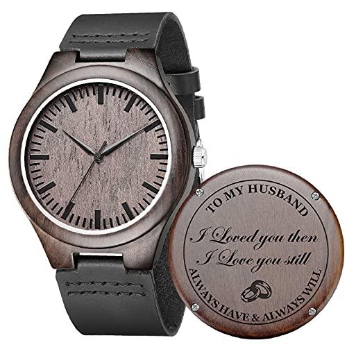 Relojes de madera grabados para hombre – Día de Acción de Gracias, Navidad, Día del Padre, San Valentín regalos para marido, papá, hijo, novio o padrinos
