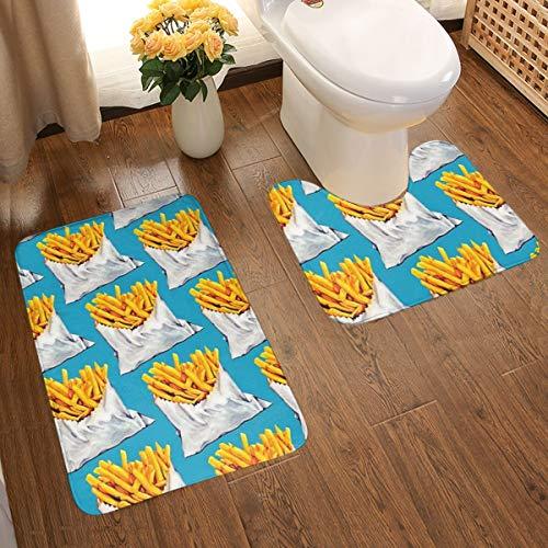 Carolyn Berns French Fries deurmat voor de deur, deurmat, deurmat in U-vorm, absorberend, antislip, dik, binnen en buiten, 2 stuks