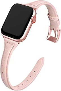 MARGE PLUS Compatible Apple Watch Band 38mm 40mm Women, Slim Genuine Leather Watch Strap Replacement for iWatch Series 5 4 3 2 1, (Pink Band + Rose Pink Adapter)