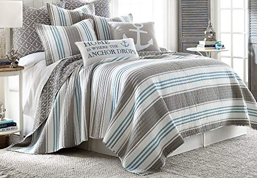 Levtex Home ProvincetownFull/Queen Quilt, Cotton, Coastal, Stripe, Grey, Reversible