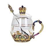 XCTLZG European Tea Set Crown Enamel Glass Cup Tea Set European Ceramic Bone China Tray Afternoon Tea Party Family Giftscup 9.0Cm Width 8.5Cm Cup Cover 7.1Cm Spoon 15.5Cm c
