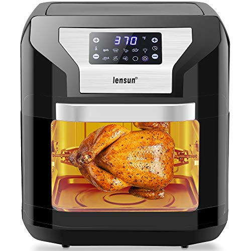 Lensun Nonstick Air Fryer XXL Max 10.6 Quart 1700W Electric Hot Air Fryer, Toaster Oven, Oil-less Cooker, Air Fry, Rotisserie, Broil, Roast, Bake, Reheat, and Dehydrate, All Accessories Included