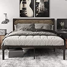 Catrimown Queen Size Platform Bed Frame with Wood headboard and Metal Slats / Rustic Country Style Mattress Foundation /Box Spring Optional / Strong Metal Slats Support / Easy Assembly