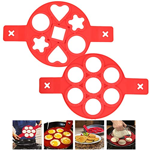 mold makers 2 Pack Silicone Pancake Mold Makers,7-Holes Nonstick Fried Egg Mold Rings,Round Heart Flower Baking Round Molds Muffin Pancake Mould for Kitchen Baking Accessories