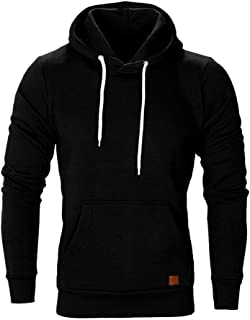 WUAI Men's Lightweight Jacket Hoodie Casual Sweatshirt Slim Fit Solid Color with Front Pocket Outwear Tops