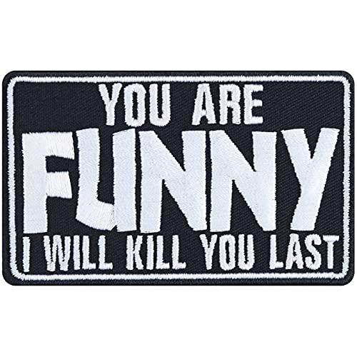 You Are Funny - Parche para coser o planchar, diseño de motorista, rockero, regalo para hombres/mujeres, DIY festival, para chaqueta/chaleco/jeans/bolsa, 90 x 55 mm