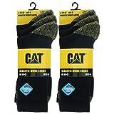 Caterpillar Diabetic Work Socks 6 Pares Calcetines Trabajo, Mejor Circulación Sanguínea, Talón Puntera Reforzados, Absorción Humedad, No Aprieta, Algodón, Remallado a Mano (Negro, 39-42)