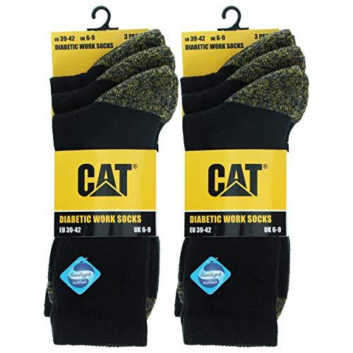 Caterpillar Diabetic Work Socks 6 Paar Arbeitssocken, Bessere Durchblutung, Feuchtigkeitstransportierend, Spannt Nicht, Verstärkte Ferse Spitze, Baumwolle, Handgekettelt (Schwarz, 39-42)