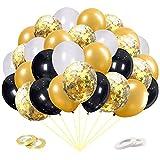60 Piezas Globos Dorados,Globos Negros Blancos Globos Helio de Confeti para Decoraciones de Cumpleaños Aniversario Boda Ceremonias de Graduación Navidad Halloween Globos Fiesta