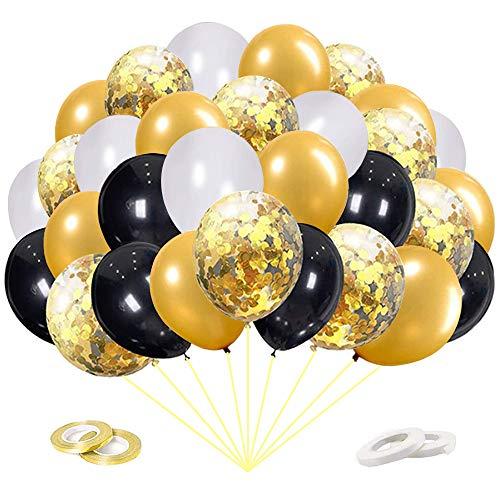 60 Pezzi Palloncini Dorati,Palloncini Oro,Palloncini con Coriandoli,Palloncino Nero Bianco,Compleanno Laurea Festival Decorazioni Palloncini Festa