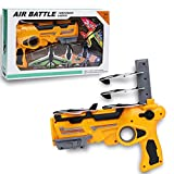 chefensty Bubble Catapult Plane Toy Airplane,One-Click Ejection Model with 4 Pack Airplane Foam Airplane, Pistol Launcher Outdoor Sports Glider Airplane Fun Toy for Kids and Boy (Yellow)