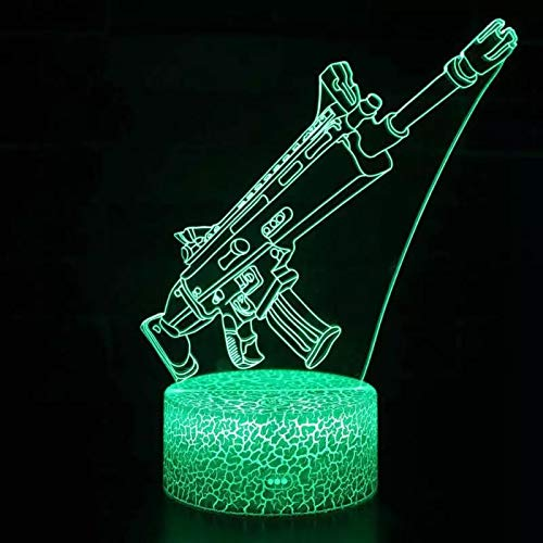Tecnología linda Armas de fuego Arma Lámpara de mesa pequeña creativa Acrílico Luz nocturna multicolor Luz visual 3D Luz LED Decoración creativa Lámpara de mesa pequeña