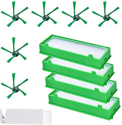 YBINGA Piezas de repuesto 6 cepillos laterales y 4 filtros Hepa y 1 herramienta de limpieza accesorios para aspiradora Vorwerk Kobold VR200 VR300 repuesto cepillo Partes Partes de aspirador