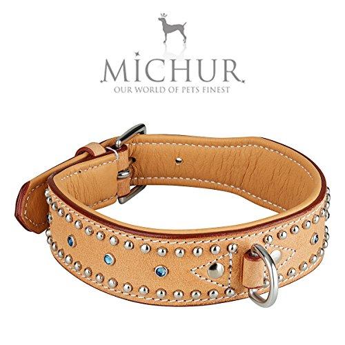 MICHUR Liam Beige Hundehalsband Leder, Lederhalsband Hund, Halsband, Leder, TÜRKISE Steine MIT RUNDNIETEN, in verschiedenen Größen erhältlich