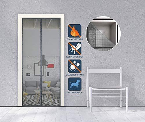 Moskito-magnetische Tür Feuerbeständige Fiberglas Insektenschutz-magnetisches Anti Feuer auf Türvorhang Messtürantimosquito mit Klebeband 80x200cm Black & White (Color : Noir, Size : 80x240cm)