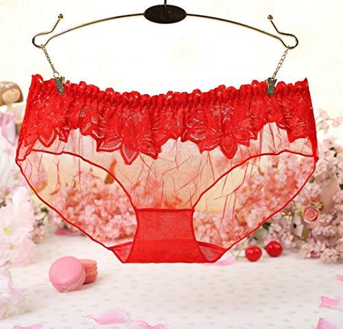 LTHH Sexy Blütenblattschlüpfer der Perspektive weiblich, rot