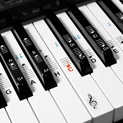 kwmobile Klavier Keyboard Noten Aufkleber - für 49 61 76 88 Tasten Instrumente - Vinyl Piano Sticker für weiße und schwarze Tasten - mit Anleitung