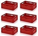 6x Fleischkiste E2 60x40x20 Metzgerkiste Eurofleischkiste rot inkl. Zollstock 6er Set