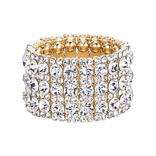 EVER FAITH Women's Austrian Crystal Round Shaped Birde 3 Layers Elastic Stretch Bracelet Clear Gold-Tone