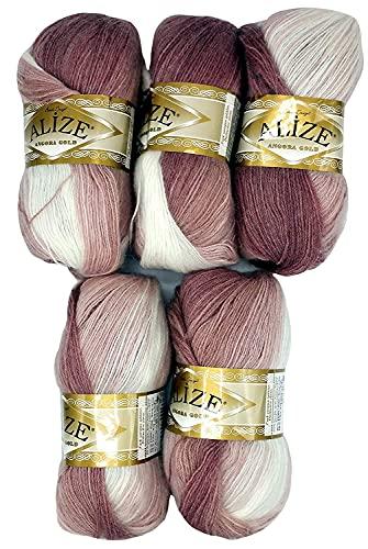 5 gomitoli di lana da 100 g Angora Gold multicolore con sfumatura di colore, 500 grammi di filato per lavoro a maglia con 20% di lana (rosa antico bianco 5698)