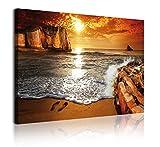 DekoArte 329 - Cuadros Modernos Impresión de Imagen Artística Digitalizada | Lienzo Decorativo Para Tu Salón o Dormitorio | Estilo Paisaje Puesta de Sol en Playa | 1 Pieza 120 x 80 cm