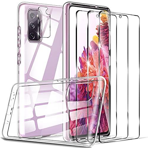 LK Compatible avec Samsung Galaxy S20 FE 4G/ 5G Coque, 3 Verre Trempé Protection écran & 1 Caméra Protecteur, Antichoc et Anti-Rayures Silicone Clair Case, Ultra Slim TPU étui Housse-Transparent