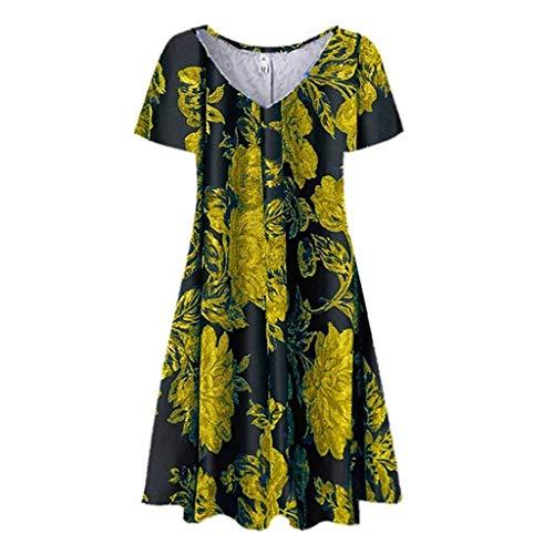 Purchase Toimothcn Women Tank Dress Vintage Casual Floral Print V-Neck Short Sleeve Tunic Dress Slee...