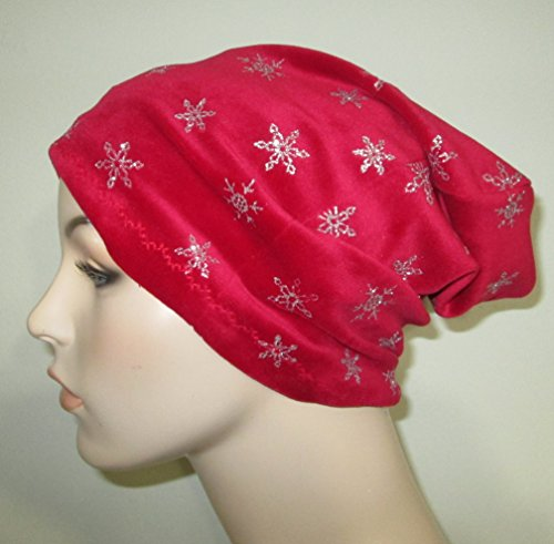 Red Velour Silver Snowflakes Slouchy Chemo Beanie Chemo Hat Alopecia Cancer Hat