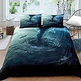 3D Blue Ocean Waves Funda Nórdica Suave Extra Grande Juego De Cama Lavable A Máquina Juego De 3 Piezas con 2 Fundas De Almohada Adecuado para Hotel con Cama Doble 200x230cm