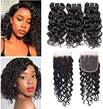 Brazilian Water Wave Bundles with Closure 9A Ocean Wave Wet and Wavy Human Hair Bundles with Closure 100% Human Hair Weave Extensions Remy Hair Bundles Water Curly Hair (10 10 10+8, free)