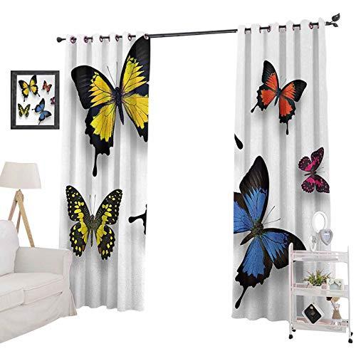 YUAZHOQI - Cortinas con diseño de mariposas y polillas, diseño de mariposas de colores, decoración del hogar, cortinas para dormitorio de niñas de 132 x 182 cm, multicolor