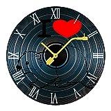 I Love Beaver 壁掛け時計 掛け時計 ウォールクロック 静音 シンプル 木製CDシェイプアート