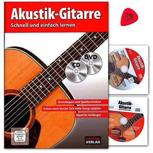Akoestische gitaar – snel en eenvoudig leren – met cd, dvd en Dunlop plek – basis- en speeltechnieken – al na korte tijd veel nummers spelen – ideaal voor beginners.