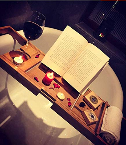 WCYDRUM Natural Bamboo Bath Caddy Adjustable Bath Tray with Free Soap Holder Extendable Bath Table Book Rest Wine Glass Holder Device Tray for a Home-Spa Experience