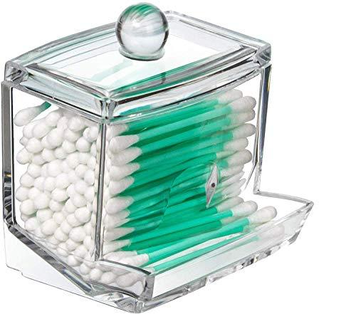 Drawihi Caja de Algodón Bastoncillos de algodón Organizador Hotel ofrece Cristal dispensador bastoncillos Box, caja,cosmética Contenedor