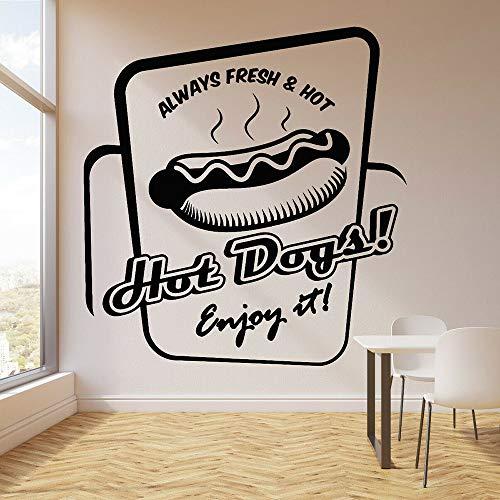 Blrpbc Pegatinas de Pared Hot Dog Comida rápida Cocina Café Arte Decoración Vinilo Camión Cocina Interior Decoración autoadhesiva 52x50cm