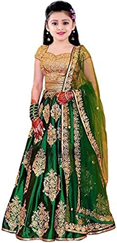 Fashion Kids Satin Semi Stichted Embroidered Silver Butti Ghaghra Choli For Girls 3 6 Year