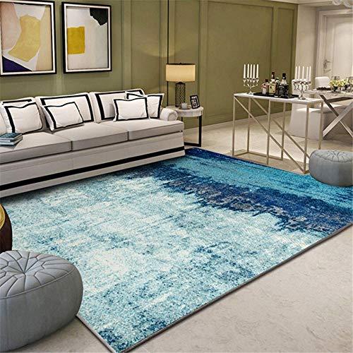 Xiaosua alfombras recibidor Azul Alfombra de Sala de Estar Azul Estilo Retro patrón Antiguo Alfombra Duradera antiácaros habitacion Infantil 80X120CM Gamer Decoracion 2ft 7.5''X3ft 11.2''