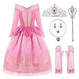 ReliBeauty Disfraz del Traje de la Princesa Aurora Ropa Rosa Partido Vestuario del La Bella Durmiente Vestido de Tul con la Lentejuela y el Ornamento de Oro niña,2-3 años (100),con Accesorios …