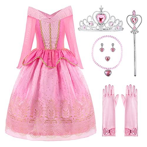 ReliBeauty Ragazza Principessa Vestito Aurora Bambina Costume, Rosa(con Accessori), 7-8 Anni