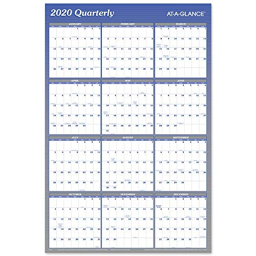 2020 Dry Erase Wall Calendar, AT-A-GLANCE Erasable Planner, 36 x 24, Large, Double Sided, Horizontal/Vertical, Blue (A1102)