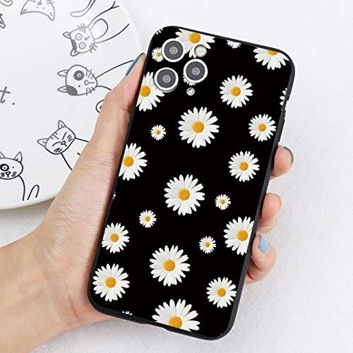 EWUEJNK Funda de teléfono móvil para iPhone 11 Pro 12 Mini Xr X Xs Max 8 7 6S Plus 5S Se 2020, Daisy Flower Soft Tpu silicona a prueba de golpes, crisantemo, para iPhone 12Pro Max